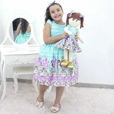 Tal Menina Tal Boneca Mari - Vestido Jasmine Luxo Verde Água