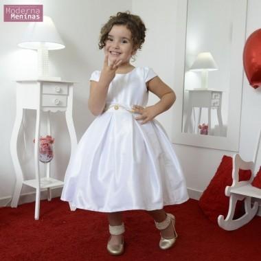 Vestido infantil branco cor única com bordado pedrarias e strass