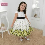 Vestido festa infantil com estampa borboleta