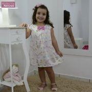 Vestido festa infantil tema unicórnios e doces tubinho trapézio