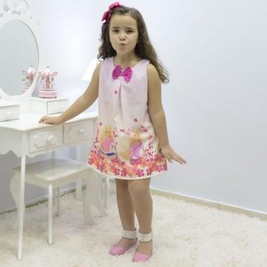 Vestido festa infantil da Barbie – tubinho trapézio