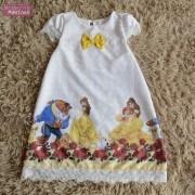 Vestido festa infantil da Bela e a Fera – tubinho trapézio