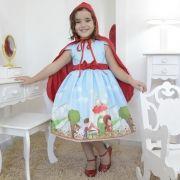 Vestido festa infantil da chapeuzinho vermelho e capa vermelha