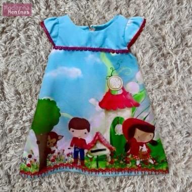 Vestido festa infantil da chapeuzinho vermelho – tubinho trapézio