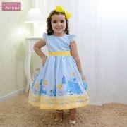 Vestido festa infantil da Cinderela azul e laço amarelo
