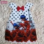 Vestido festa infantil da ladybug Miraculous – tubinho trapézio