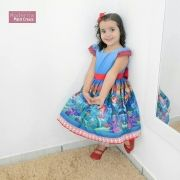 Vestido infantil festa da pequena sereia Ariel