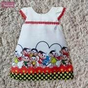 Vestido festa infantil da Turma da Mônica – Magali – tubinho trapézio