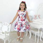 Vestido festa Infantil floral com rosas marsala e borboletas