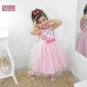 Vestido infantil festa floral com tule rosa sobre a saia