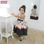 Vestido festa infantil floral rosa e preto