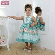 Vestido festa infantil verde floral com rendas