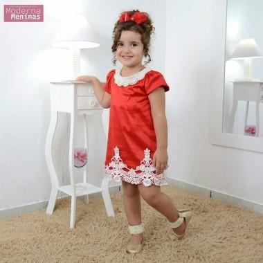 Vestido infantil vermelho com tule e perolas tubinho trapézio