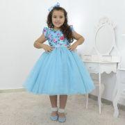 Vestido Floral infantil com saia de tule azul