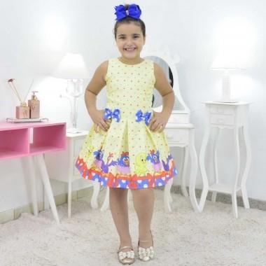 Vestido Amarelo Galinha Pintadinha Candy Color