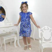 Vestido infantil azul com tule francês bordado modelo trapézio