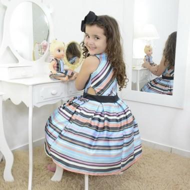 Vestido infantil azul listrado  e roupa da boneca Baby Alive opcional