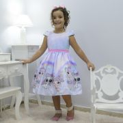 Vestido infantil boneca Lol unicórnio arco-íris