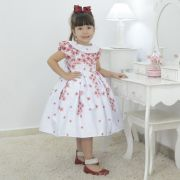 Vestido infantil branco floral marsala e gola escafandro