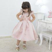 Vestido infantil cor rosa seco