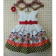 Vestido Infantil da Turma da Monica - Magali, Cebolinha e Cascão