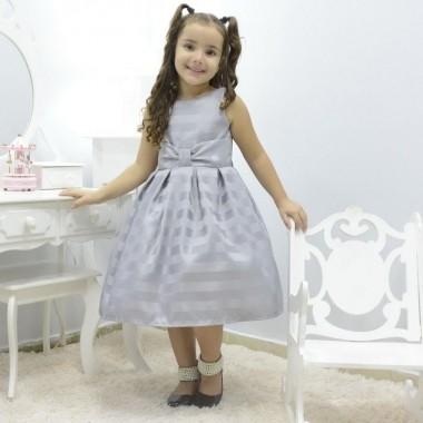Vestido infantil festa cor lisa prata
