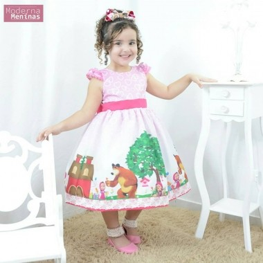 Vestido infantil festa da Masha e o Urso