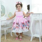 Vestido infantil festa das mínis bonecas Lol surprise rosa