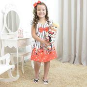 Vestido infantil festa floral e a panda bailarina - tubinho trapézio