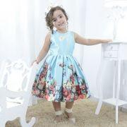 Vestido infantil festa jardim encantado azul, flores e borboletas