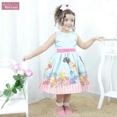 Vestido infantil festa jardim encantado floral azul e rosa