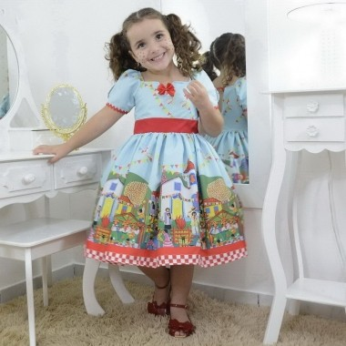 Vestido infantil festa junina azul