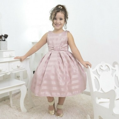 Vestido infantil festa na cor rosa seco