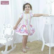 Vestido infantil festa unicórnios encantados com estrelas