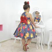 Vestido infantil festa Urso de Pelúcia com corações