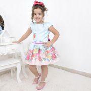 Vestido infantil floral azul com rosas, borboletas e laço nas costas