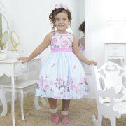Vestido infantil floral azul com rosas e borboletas