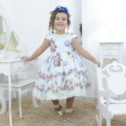 Vestido infantil jardim encantado, pássaros e bordados em perolas