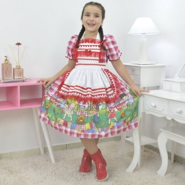 Vestido infantil xadrez de quadrilha - Festa Junina com Avental