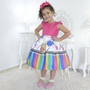 Vestido infantil tema Aquarela, Pintando o Sete - Slime