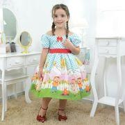 Vestido infantil tema festa junina xadrez