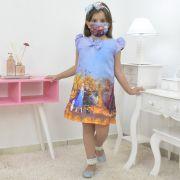 Vestido infantil tema Frozen 2 - Elsa e Anna azul trapézio