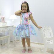 Vestido infantil tema Lol Sereia com tule azul sobre a saia