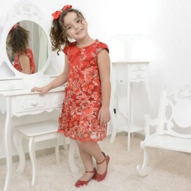Vestido infantil vermelho com tule francês bordado modelo trapézio