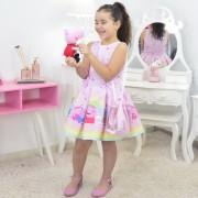 Vestido Peppa Pig Com Bolsa Rosa e Pelúcia