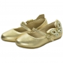 Sapatilha de Menina Dourada Bordado em pérolas - Couro Toke/Kimey