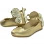 Sapatilha infantil dourada no couro e pérolas formato borboleta - Toke/Kimey