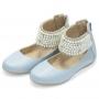 Sapatilha infantil Em Couro Com Aplicações - cor azul perolado - Toke/Kimey