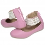 Sapatilha infantil Em Couro Com Aplicações - cor rosa chiclete - Toke/Kimey