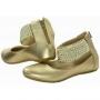 Sapatilha infantil Em Couro Com Aplicações - ouro dourado - Toke/Kimey